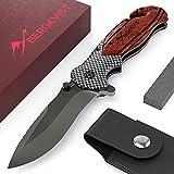 BERGKVIST 3-in-1 Klappmesser K19 RED extra scharfes Taschenmesser mit edlem Holzgriff Outdoor Messer mit Titaniumklinge aus 7cr17 rostfreiem Edelstahl | Einhandmesser mit Schleifstein & Gürteltasche