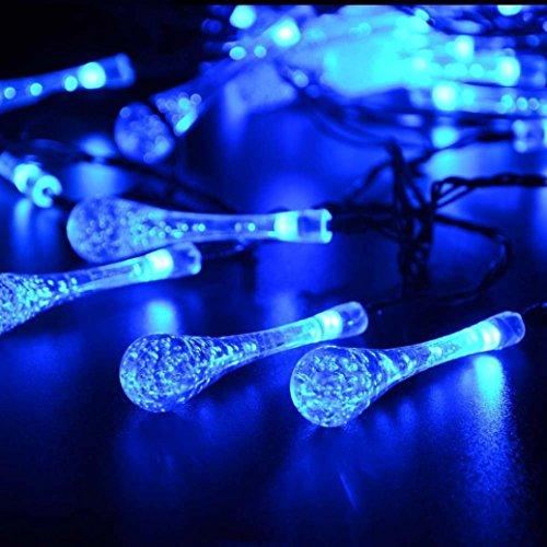 DOLDOA LED Wassertropfen Lichterkette für Garten Dekor,Party, Weihnachten,Outdoor,Fest Deko usw (5M – Solar Lichterkette, Blau)