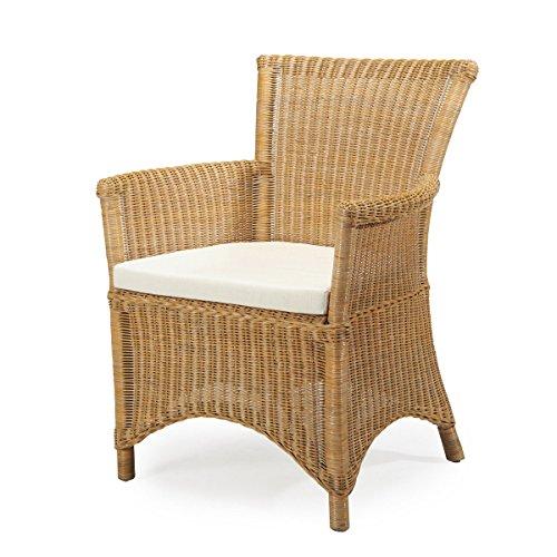 Rattan-Sessel ROSAS - Rattan - Vintage - inkl. Sitzkissen - Gelb