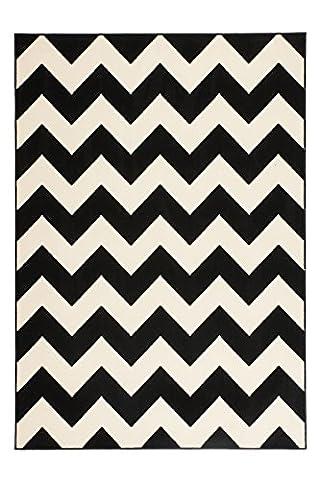 Teppich Wohnzimmer modern Carpet geometrisches Design RUG Manolya 2095 Schwarz 80x150cm | Teppiche günstig online kaufen