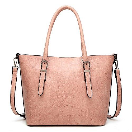 MeiliYH neue Damen PU Leder Fashion Handtaschen Einfache Boutique hohe Kapazität Messenger Schultertaschen für Damen pink