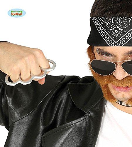 Fiestas Guirca Silberne Prop Plastik Knuckle - Silber Gangster Kostüm