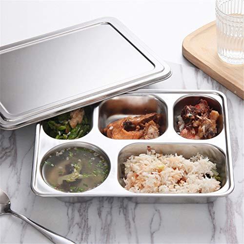 KUQWCY Fach-Edelstahl-Platten-Behälter-Brotdosen mit Deckel für Kantinen-Restaurant-Geschirr -
