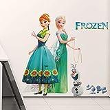 Kibi Stickers Muraux Reine des Neiges Frozen Disney Salon Amovible Stickers Mural Elsa, Chambre Bebe Autocollants Frozen, Stickers Muraux Chambre Enfant Fille Princesse