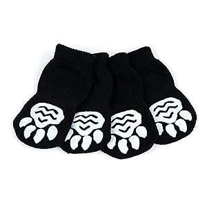 Pet Chaussettes Antidérapantes - Badalink Lot de 4 en Coton pour Chien Chat Taille S - Noir