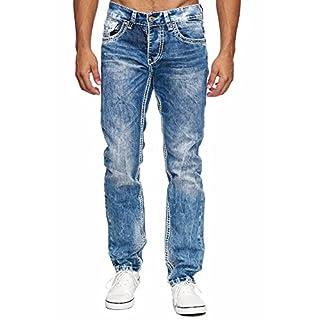 Amica MEGASTYL Herren Männer Jeans Basic Streetwear Dicke Nähte Regular Fit, Größe:W34 / L32, Farbe:Blue