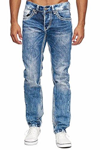 Amica MEGASTYL Herren Männer Jeans Basic Streetwear Dicke Nähte Regular Fit, Größe:W40/L32, Farbe:Blue