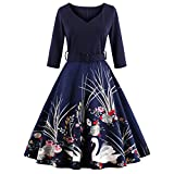 DressLily Women Swan Printed Belted Dress(Purplish Blue XL)