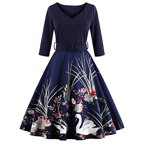 DressLily-Women-Swan-Printed-Belted-DressPurplish-Blue-L