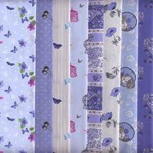 Bundle de telas - 8 telas 'Las Mariposas (azules)' - colección de telas de coordinación (pequeños diseños)   100% algodón   46 x 56 cm