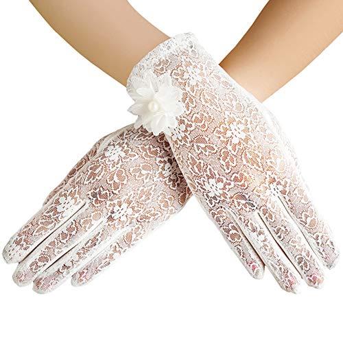 ArtiDeco Damen Lace Handschuhe Satin Braut Hochzeit Spitze Handschuhe Opera Fest Party Handschuhe 1920s Handschuhe Damen Kostüm Accessoires (Kurz Blume Weiß) (Elegante Braut Kostüm)