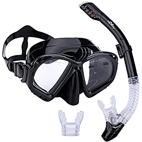 Supertrip Premium Snorkel Set Adult with 2 Mouthpieces Diving Mask Snorkeling Diving Swimming Goggles Mask Dry Snorkel Set with Camera Mount Color Black
