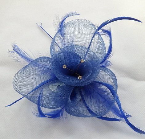 Blue Hessian Net Flower Fascinator With Feathers & Crystal Centre Various Colours