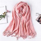 ExpensiveScarf SchalArbeiten Sie Normallackherbst- und -winterfrauen-Süßigkeitfarbe warmen roten Troddelkragen, 200X70cm um Schalldämpfer Schal Halstuch Muffel