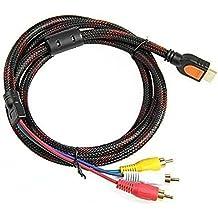 HDMI a RCA Cable Y # xFF0C; 1,5m HDMI a 3RCA Video Audio AV Componente Cable adaptador convertidor para HDTV PC DVD y la mayoría de los proyectores LCD (no para PS4)
