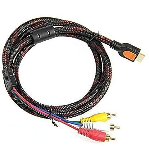 Tesco 5pieds 1.5m HDMI vers 3RCA vidéo audio AV Component câble adaptateur convertisseur pour HDTV DVD et la plupart des projecteurs LCD (ne pas pour PS4)