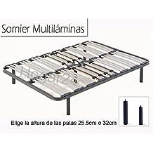 Somier multiláminas con reguladores lumbares (5 patas incluidas)-Altura de las patas 32cm- 135x190cm