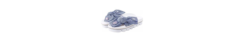 KPHY Pretty/Zapatos de Mujer/Corbata De Lazo De Verano Moda Rayas Desgaste de 6 Cm De Tacon Alto Fondo Grueso... -