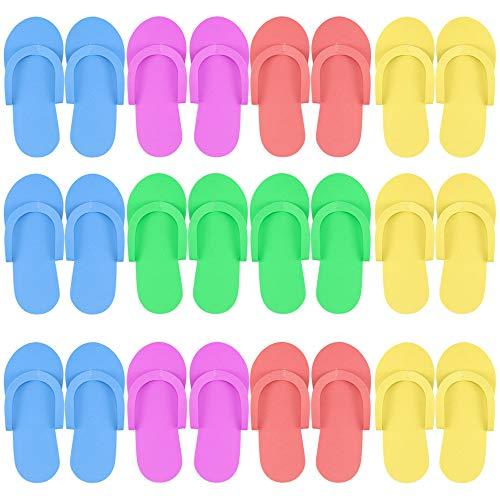 Hysagtek 12pares, espuma, Chanclas, sandalias de playa de arena para ducha y pedicura Color aleatorio...