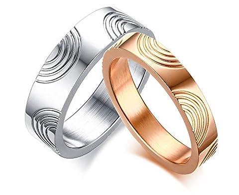 Vnox 2 Stück Edelstahl Fingerabdruck Valentine Paar Versprechen Hochzeit Verlobungsband Ring für Liebhaber