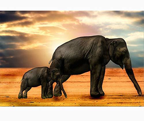 WACYDSD Puzzle 1000 Piezas Elefantes Y Elephan DIY Arte De La Pared...