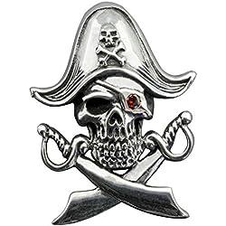 Collar con diseño de calavera pirata y espadas.