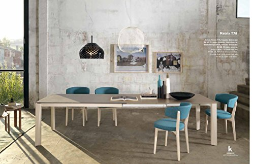 Friulsedie Table Extensible T78 Matrix 160 x 90 Ultra Jambes hêtre laqué Brillant Blanc Plan keramic