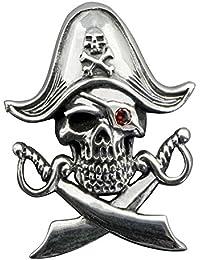 Diseño de calavera piratas Caribe espadas colgante Disney granate plata de ley 9255G con sello beldiamo