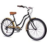 26' BEACHCRUISER DAMENFAHRRAD KCP ALOHA 2.0 6 Gang SHIMANO schwarz gold RETRO LOOK