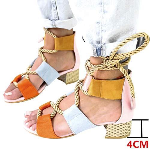 Sandalias Mujer Verano 2019 Tacon 4CM Sandalias Romanas Cuerda de Cáñamo Zapatos Gladiador Punta Abierta...