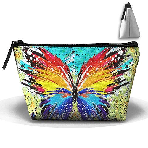 Abstract Butterfly Splatter Painting Toiletry Pouch Makeup Bag Trapezoidal Storage Travel Bag Phone Coin Purse Cosmetic Pouch Wallet Pencil Holder Zipper Era-stitch