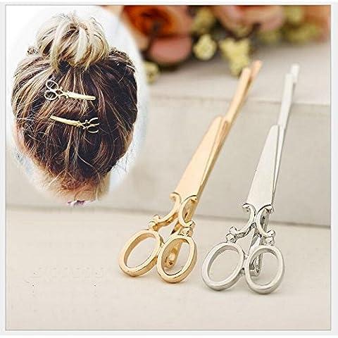 windechoo 6(3pc Oro 3pc argento)–Clip per capelli a forma di Fashion Forbici Accessori Per Capelli Copricapo