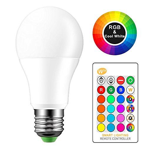 houkiper 10W/15W RGBW LED Leuchtmittel E27IR-Fernbedienung Farbwechsel Atmosphäre Beleuchtung Led-Lampe Flash Strobe Fade Modus Bar KTV Dekoleuchte Smart Home LED Lampe, cool white, 10W Flash-lampe
