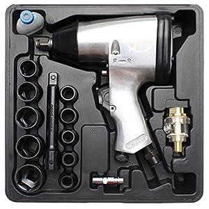 Kraftmann 3211 | Druckluft-Schlagschrauber mit Werkzeugsatz | 12,5 mm (1/2″) | 312 Nm | 16-tlg