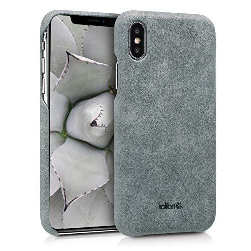 kalibri Apple iPhone X Hülle - Leder Handy Cover Case - Hardcover Schutzhülle für Apple iPhone X