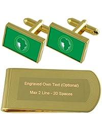 La bandera de la Unión Africana de tono Oro gemelos Money Clip grabado Set  de regalo 75c5ad920f6f