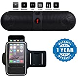 Captcha Pill Shaped Portable Wireless Bluetooth Stereo Speaker Supported FM Radio, Aux Input And SDCard With Built-in Microphone For Hands-free Calling With Waterproof Sports Arm Band Compatible With Xiaomi, Lenovo, Apple, Samsung, Sony, Oppo, Gionee, Viv