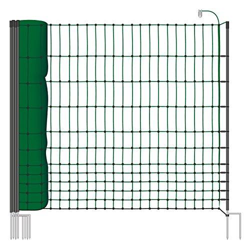 *Hühnernetz 50m, Geflügelzaun, Geflügelnetz, 112 cm, 16 Pfähle, 2 Spitzen, grün von VOSS.farming farmNET*