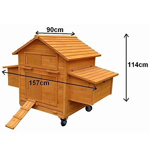 Melko® XXL Hühnerstall Hühnerhaus inklusive Rampe, 157 x 90 x 114 cm, aus Holz, rollbar, 2 Nestboxen - 5