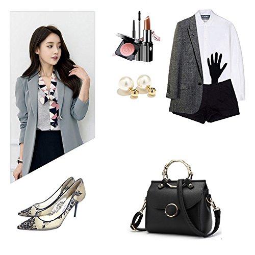Sacchetti alla moda Yoome per donne Anello circolare Top Tote Handle Borse eleganti per fascino Casual Borse - Bianco bianca