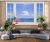 Weaeo Benutzerdefinierte Wandbild 3D-Fototapete Blick Auf Das Meer Vor Dem Fenster Zimmer Dekor Malerei 3D Wandbilder Tapete Für Wände 3D-200X140cm