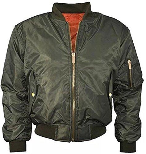 Mochoose Veste Blouson Jacket Bomber Rembourré Uni Classique Fermeture Éclair Manches Longues Manteau Femme Armée Verte