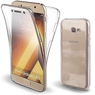 Moozy 360 Grad Hülle für Samsung A5 2017 - Vorne und Hinten Transparenter TPU Ultra Dünn Weiche Silikon Handyhülle Case für Galaxy A5 2017