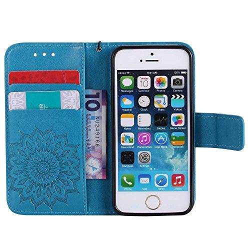 Custodia iPhone 5 / 5S / SE, cmdkd Wallet Custodia Bumper per iPhone 5 / 5S / SE. (Rosso) Blu