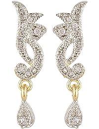 SKN Gold And Silver American Diamond Dangle & Drop Alloy Stud Earrings For Women & Girls (SKN-3345)
