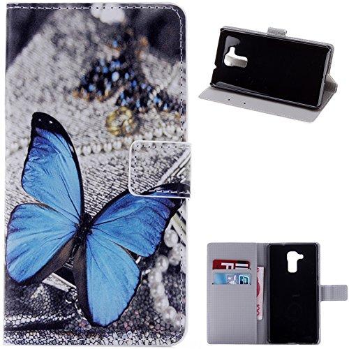 KM-WEN® Schutzhülle für Honor 5C / Honor 7 Lite / Huawei GT3 (5,2 Zoll) Bookstyle Farbmalerei Series Blau Schmetterling Muster Magnetverschluss PU Leder Wallet Case Flip Cover Hülle Tasche Schutzhülle mit Standfunktion Kartenfächer für Honor 5C / Honor 7 Lite / Huawei GT3 (5,2 Zoll)