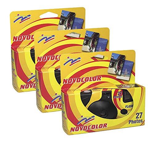 Novocolor - fotocamere usa e getta con flash, 27 esposizioni con flash, 3 unità