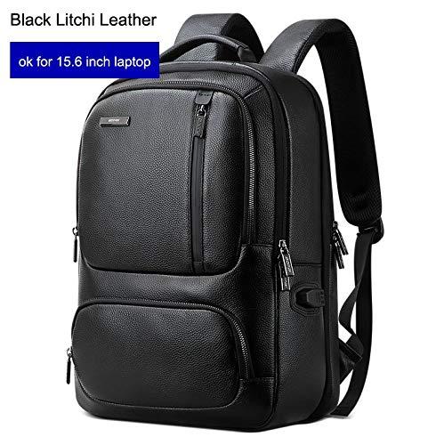 Top Echtes Leder Rucksack Männer 15,6 Zoll Laptop Rucksack Echtes Leder USB Ladeanschluss Männlichen Business Rucksack ReiseSchwarz Litschi Leder