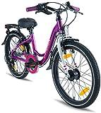 'Prometheus bambino bicicletta 20Zoll ragazze alluminio viola rosa & nero | con SHIMANO DI COMMUTAZIONE | SHIMANO mozzo dinamo | Promax V-Brakes | a partire da 7anni | 20Classic Edition 2018