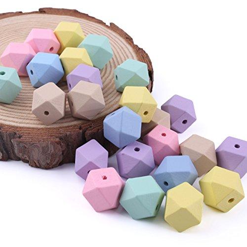 baby tete Bois Teether Candy Couleur Perles Octagonales 20MM / 50Pcs Environmental Paint DIY Collier Accessoires Dentiels Bijoux